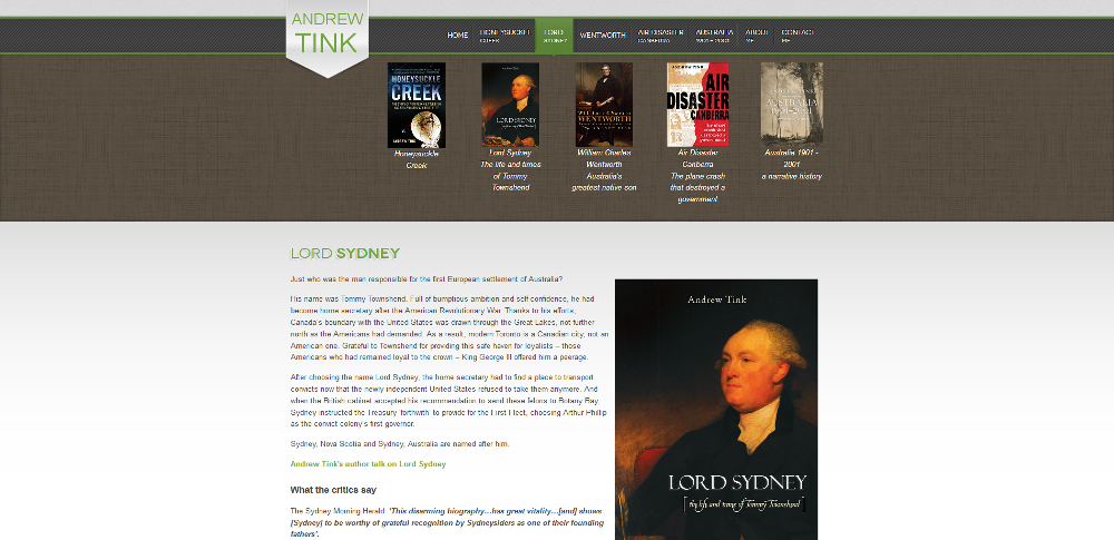 Website for author and ex NSW politician Andrew Tink